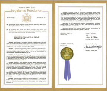 "2013 NYS Legislature Resolution about the ""Spirit of 1776"" suffrage wagon"